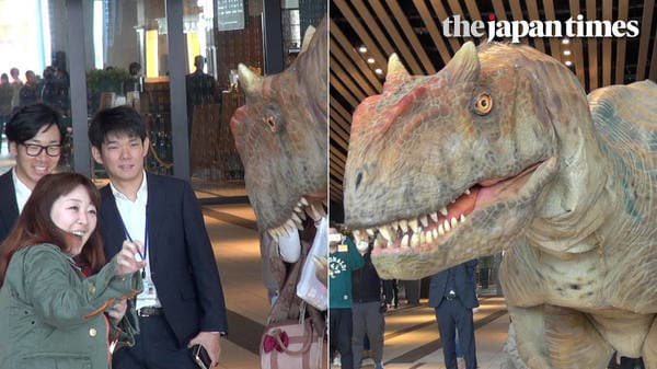 Dinosaur welcomes new workers at Shibuya Hikarie