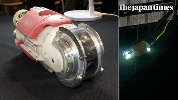 'Mini manbo' (miniature sunfish) robot demo by Toshiba Corp.